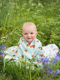 Organic cotton muslin swaddle blanket - Gentle fox - Snuggle in the woods - Little Blue Nest