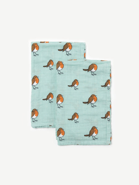 Organic cotton muslin squares 2 pack - Little robin - Little Blue Nest