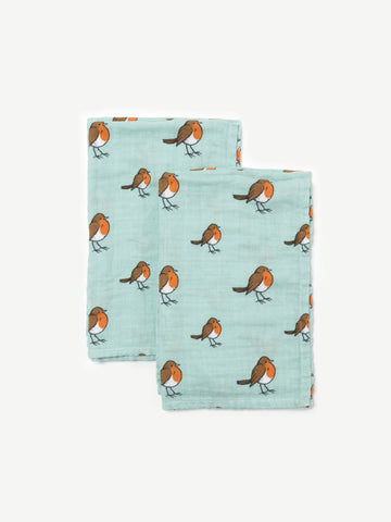 Organic cotton muslin squares - little robin