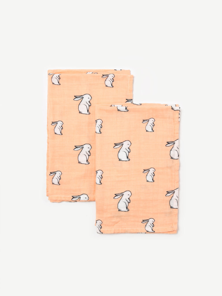 Organic cotton muslin squares 2 pack - Long ear bunny - Little Blue Nest
