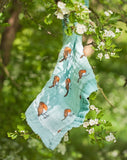 Organic cotton muslin security blanket comforter- hang in blossom tree - little robin - Little Blue Nest
