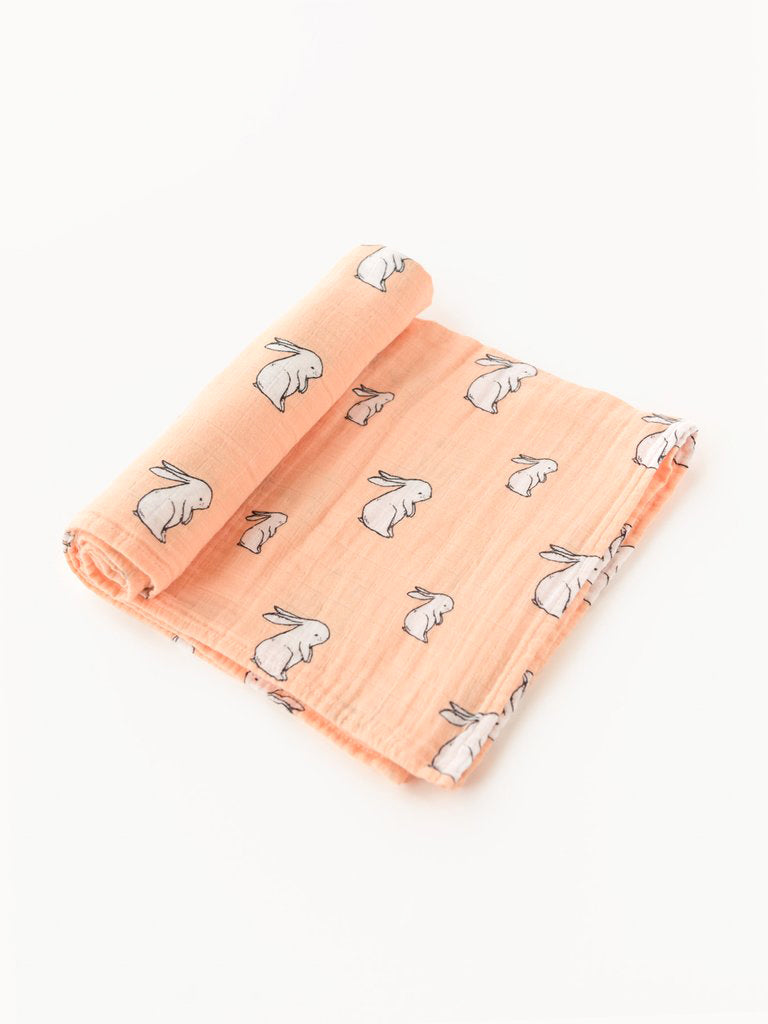 Organic cotton muslin swaddle blanket - Long ear bunny
