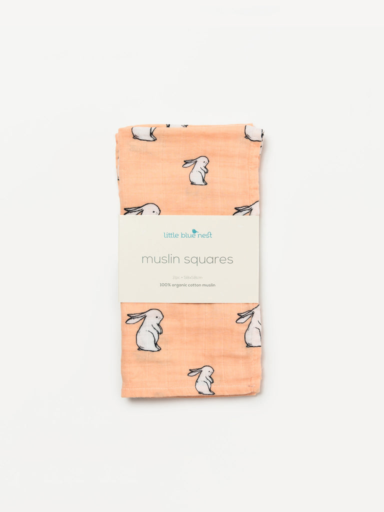 Organic cotton muslin squares 2 packaged in sleeve - Long ear bunny - Little Blue Nest