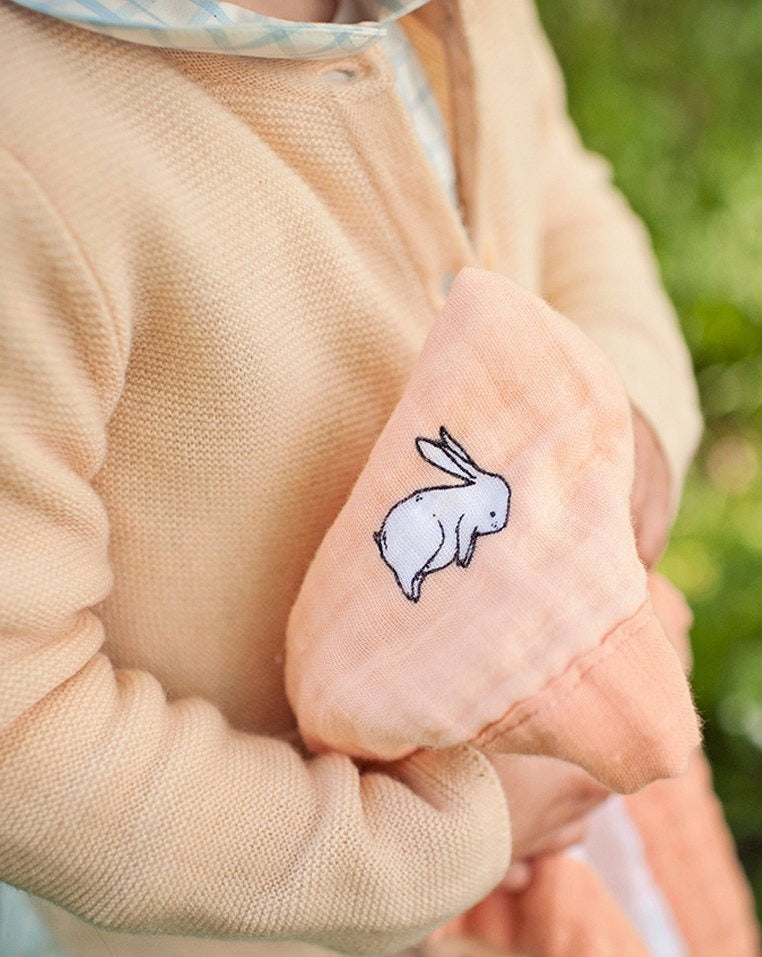 Little blue nest - Organic cotton muslin security blanket comforter - long ear bunny - closeup in hands