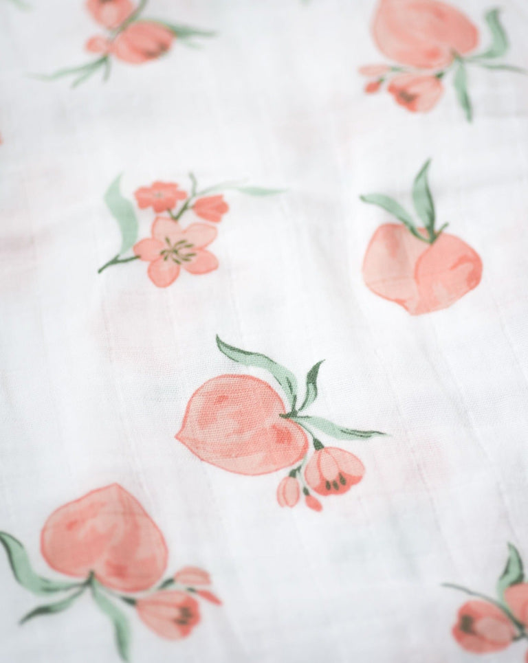 Muslin Swaddle Blanket Print Detail Peach