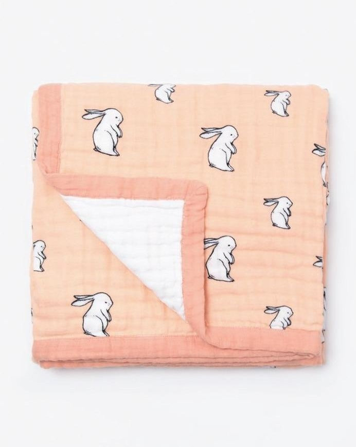 Organic cotton muslin 4 layer blanket quilt - long ear bunny 120x120cm