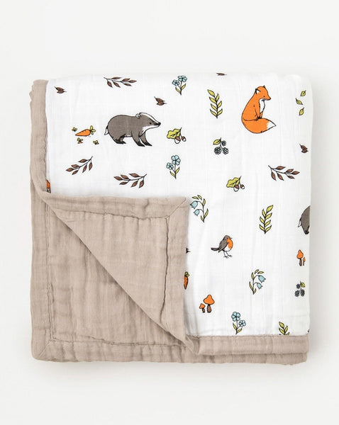 Little Blue Nest - organic cotton muslin quilt blanket 4 layers top