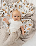 Bear quilt cuddle blanket organic muslin | Little Blue nest
