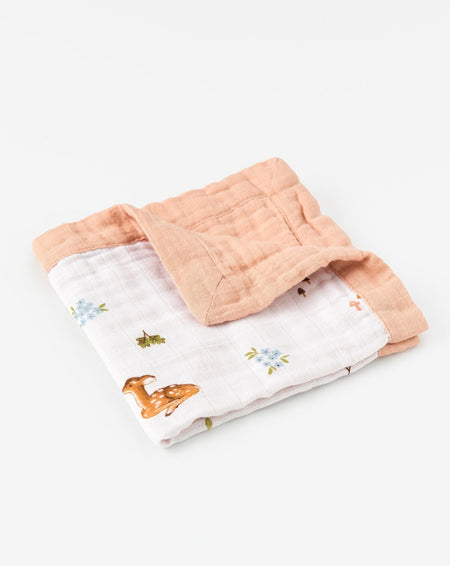 Organic cotton muslin comforter security blanket - Fawn