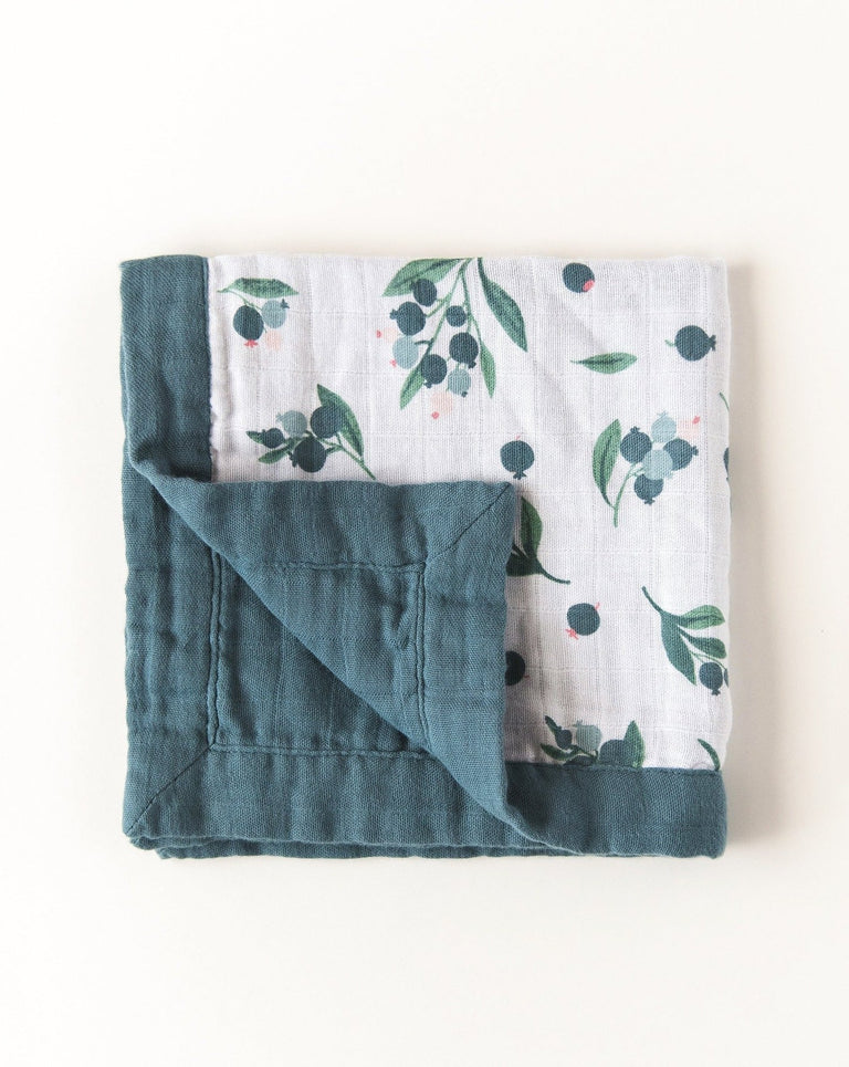Organic cotton muslin security blanket 2 layers folded | Little Blue Nest
