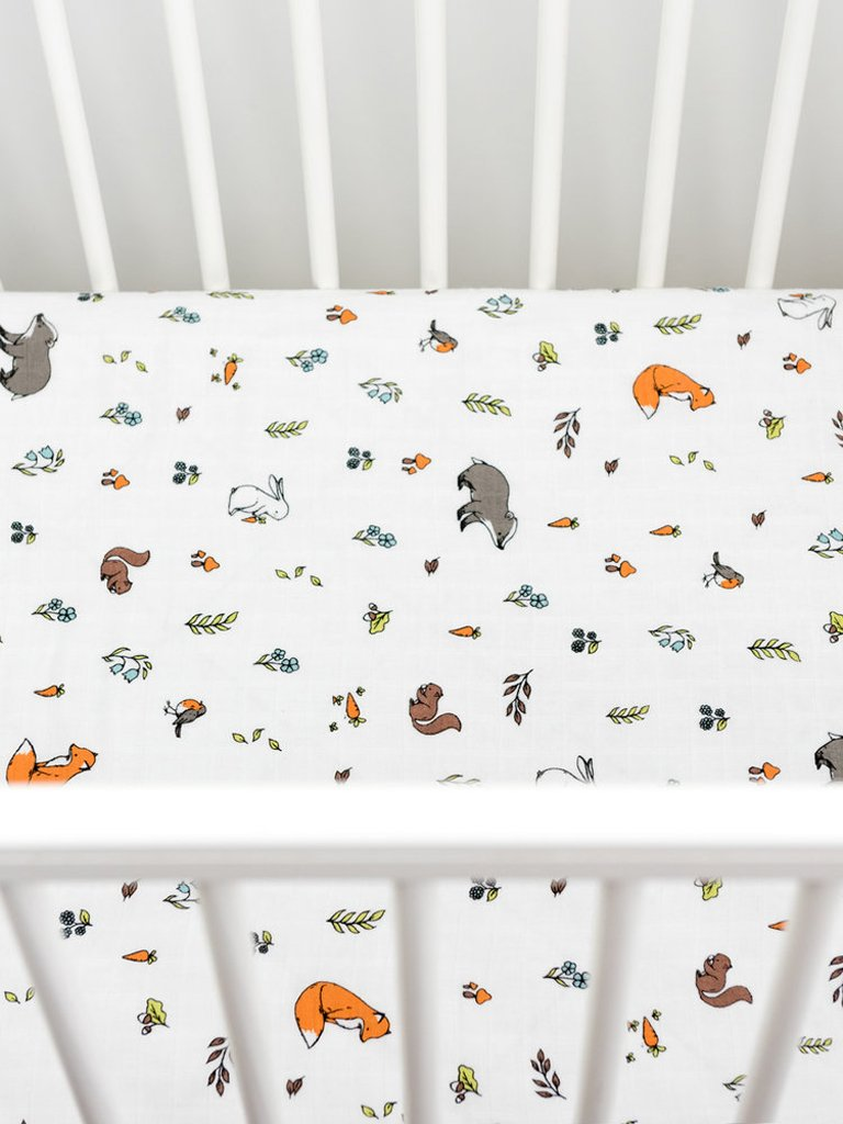 Fitted cot bed sheet Woodland 140 x 70cm | Little Blue Nest