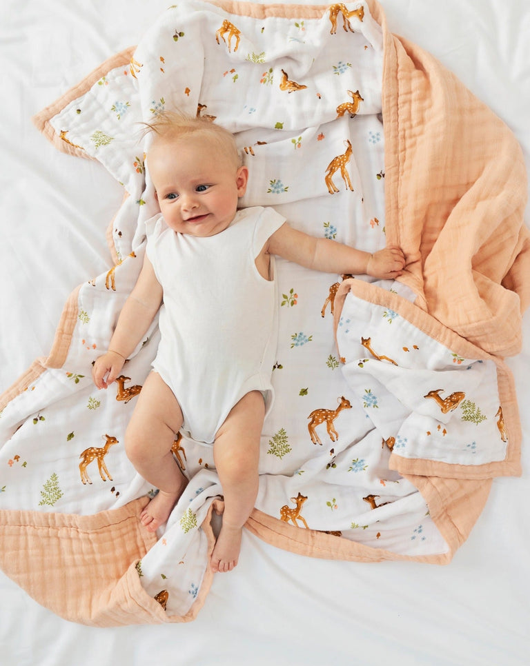 Fawn cotton muslin quilt blanket | Little Blue Nest