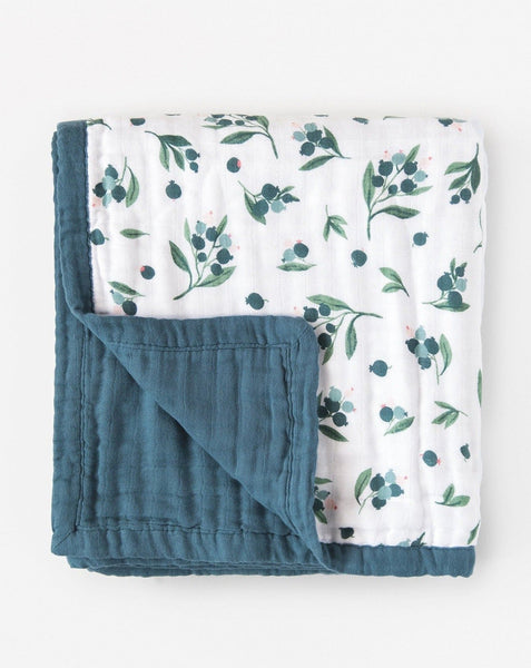 Organic cotton muslin quilt 4 layer - Blueberry
