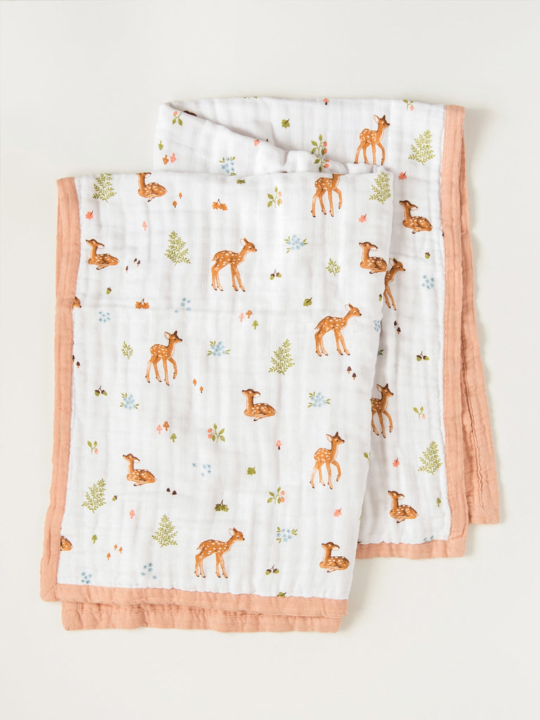 Reversible baby deer quilt blanket | Little Blue Nest