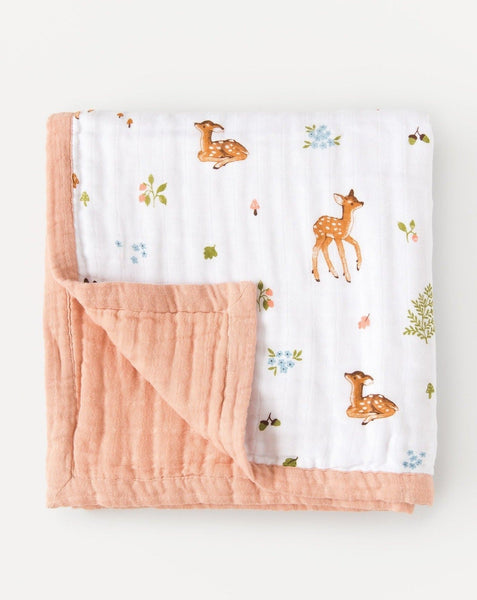 Organic cotton muslin quilt 4 layers fawn baby deer | Little Blue Nest