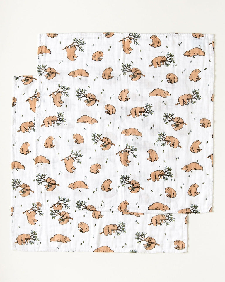Bear muslin squares organic cotton Set of 2