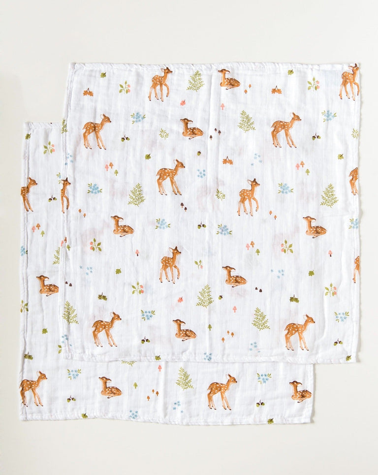 Set of 2 muslin squares organic cotton fawn | Little Blue Nest