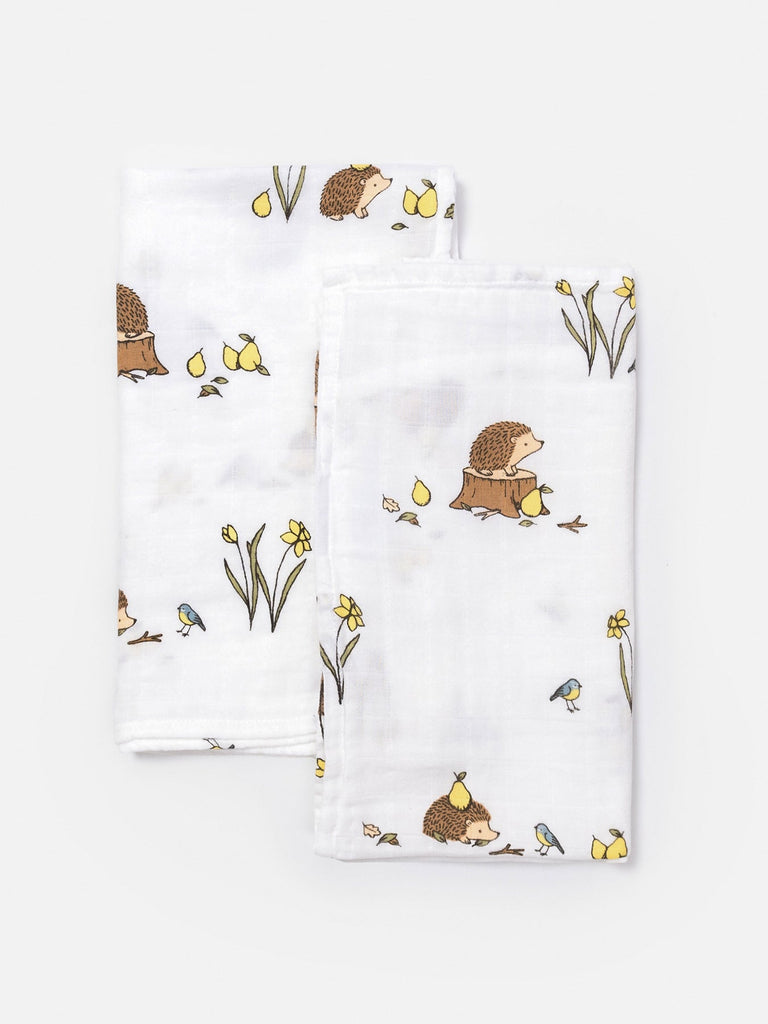 Organic cotton muslin square cloths - woodland hedgehog
