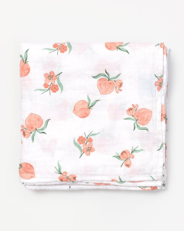 Organic cotton muslin swaddle blanket Peach blossom