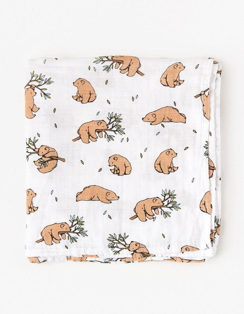 Bear swaddle blanket organic cotton muslin
