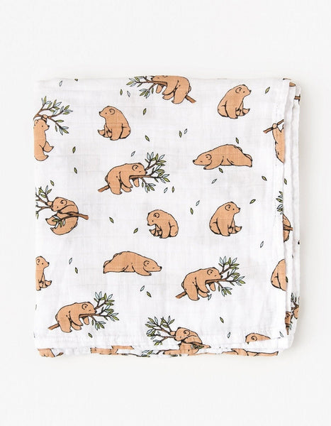 Organic cotton muslin swaddle blanket - Bear cub