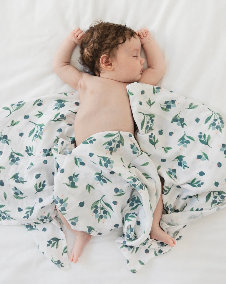 Blueberry muslin swaddle blanket organic | Little Blue Nest