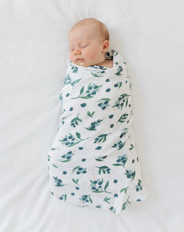 Muslin baby swaddle blanket organic Blueberry