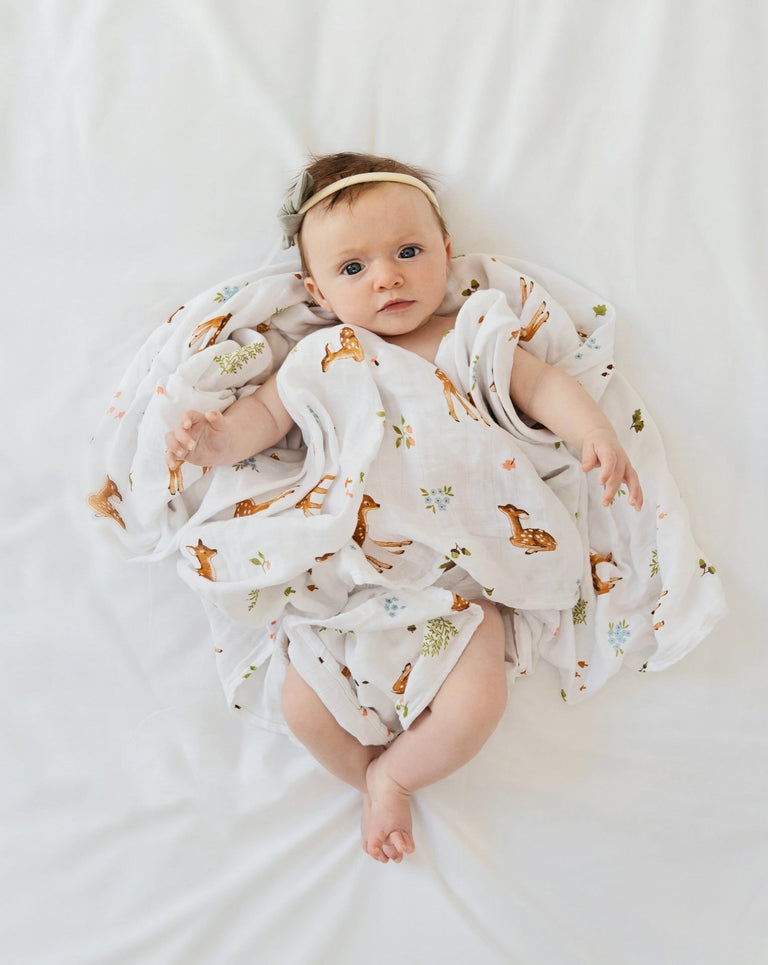 Baby deer fawn cotton muslin swaddle organic