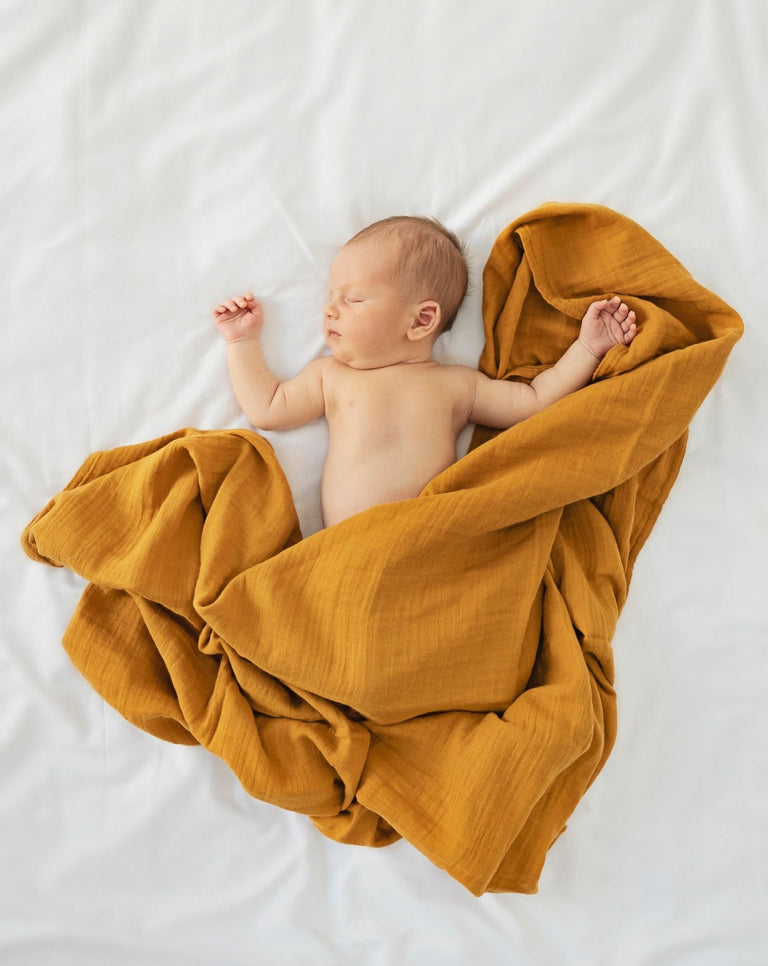 Organic muslin cotton swaddling blanket honeycomb