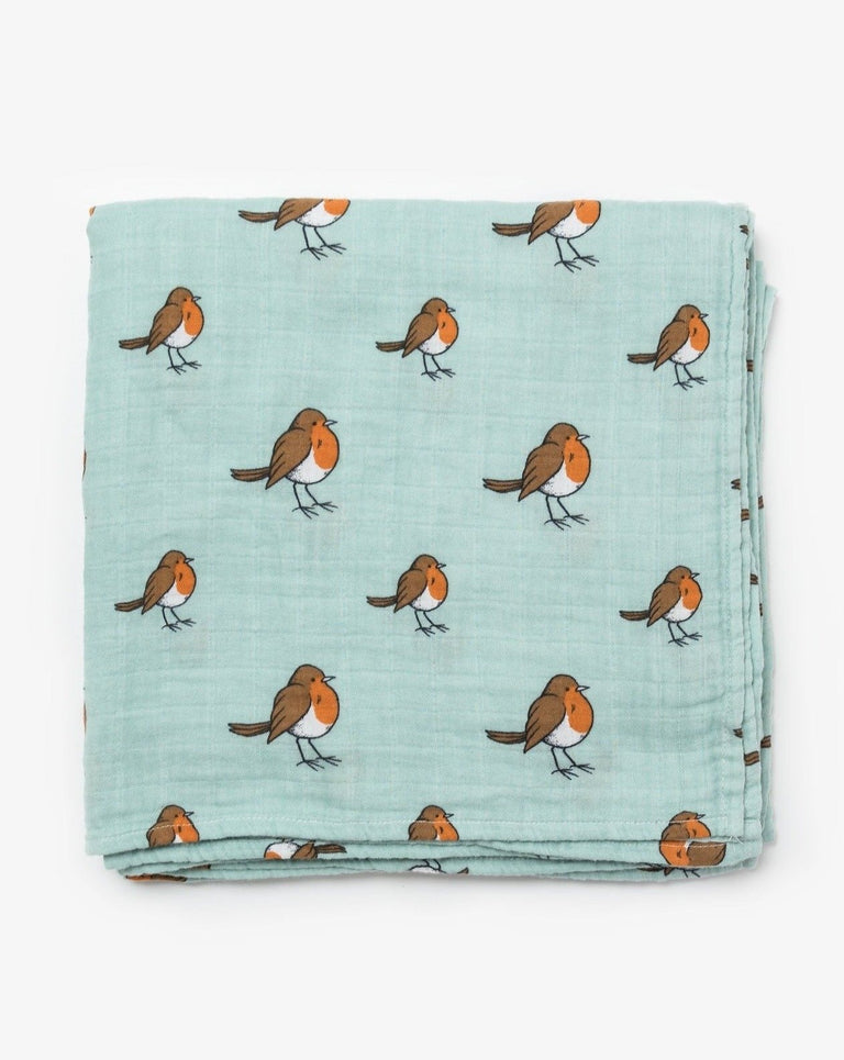 Organic cotton muslin swaddle blanket Robin Little Blue Nest