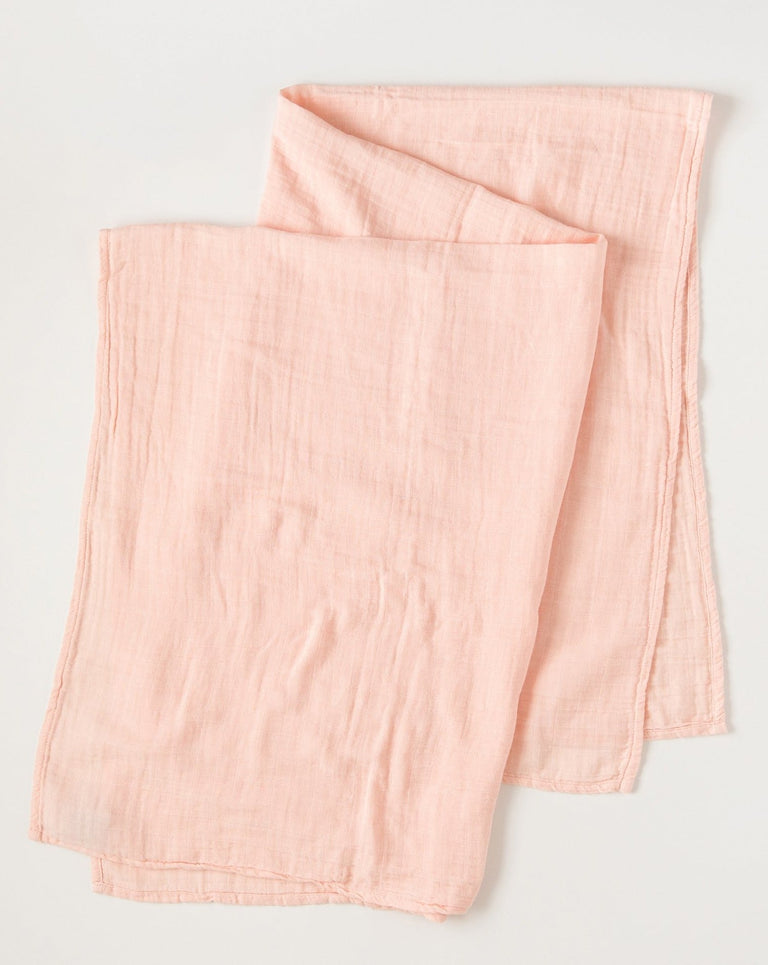 Pink blush rosa muslin swaddle blanket organic cotton