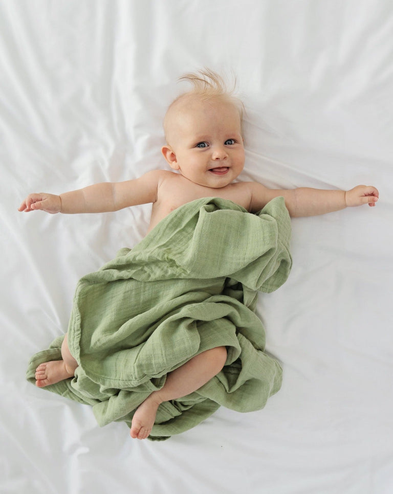 Cotton muslin swaddle blanket organic green