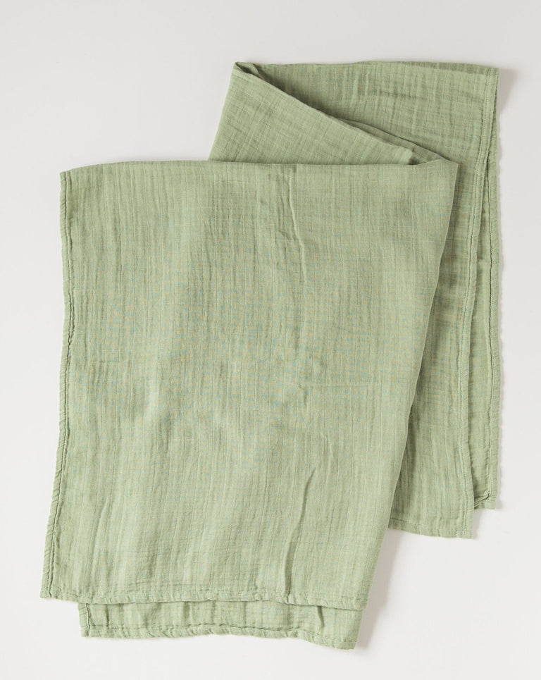 Baby swaddle blanket green organic cotton muslin
