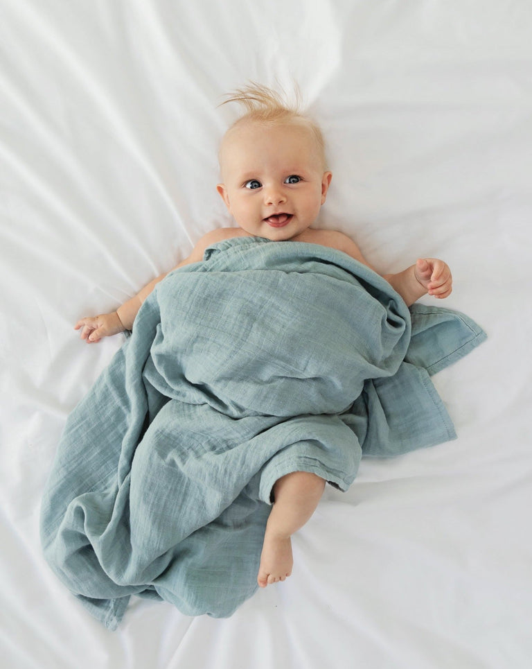 Swaddle blanket organic little blue nest