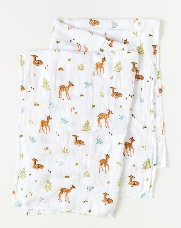 Fawn swaddle blanket organic cotton muslin | Little Blue Nest