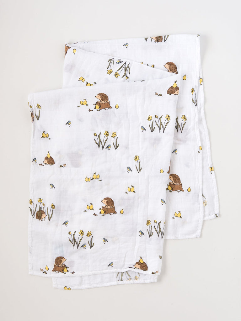 Organic cotton muslin swaddle blanket woodland hedgehog