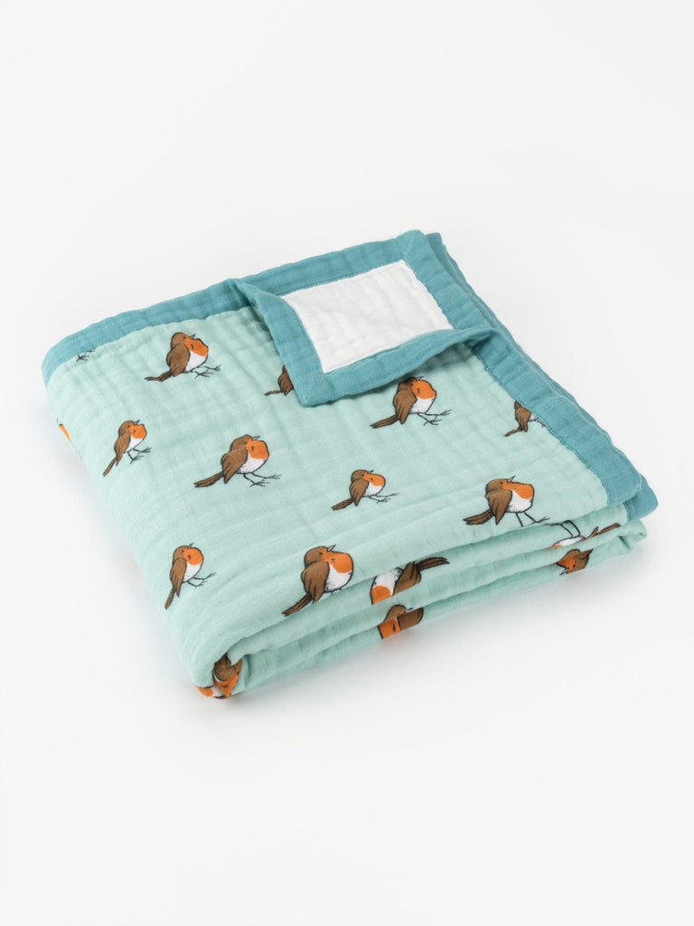 Organic cotton muslin dream blanket quilt little robin - diagonal fold - Little Blue Nest