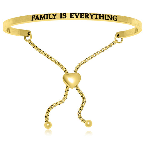 Yellow Stainless Steel Family Is Everything Adjustable Bracelet