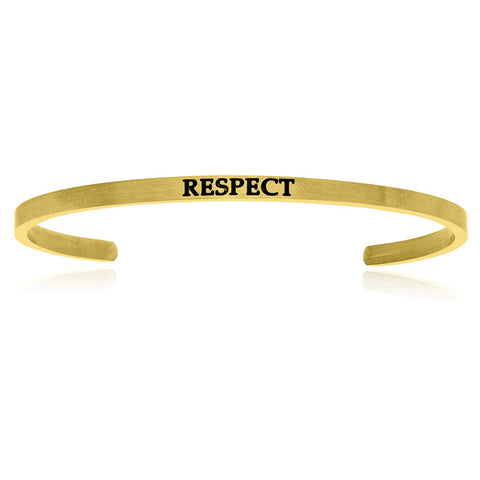 Yellow Stainless Steel Respect Cuff Bracelet