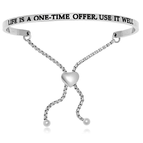 Stainless Steel Life Is A One Time Offer Use It Well Adjustable Bracelet