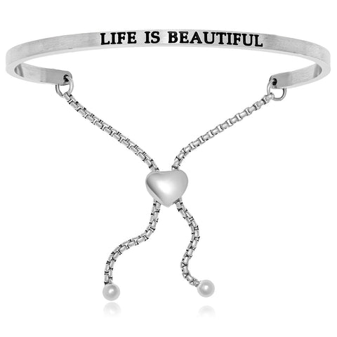 Stainless Steel Life Is Beautiful Adjustable Bracelet