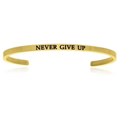 Yellow Stainless Steel Never Give Up Cuff Bracelet