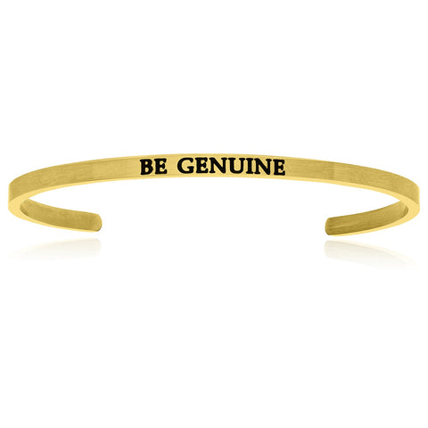 Yellow Stainless Steel Be Genuine Cuff Bracelet