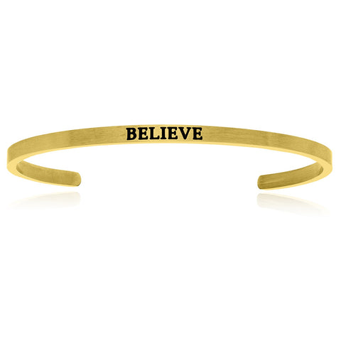 Yellow Stainless Steel Believe Cuff Bracelet
