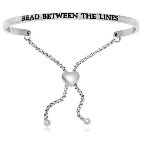Stainless Steel Read Between The Lines Adjustable Bracelet