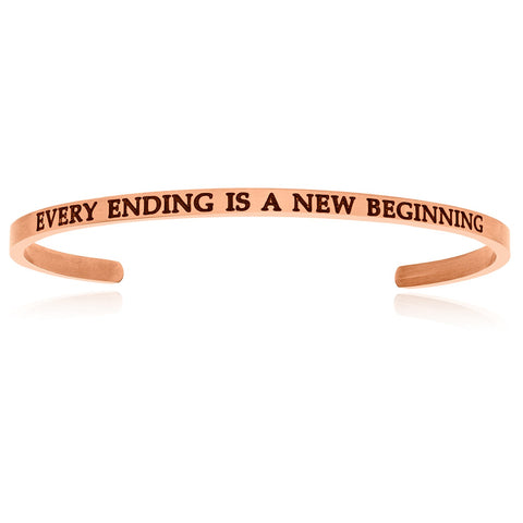 Pink Stainless Steel Every Ending Is A New Beginning Cuff Bracelet