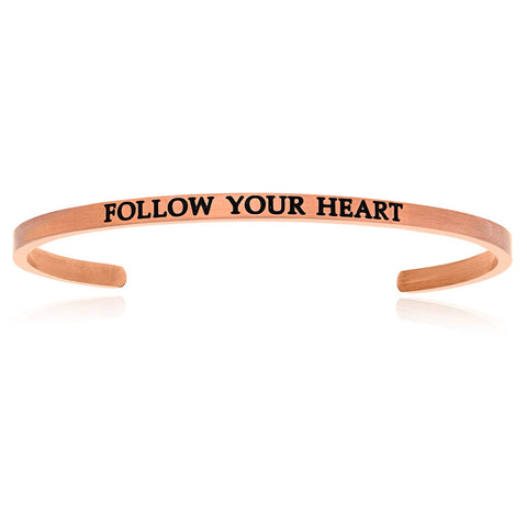 Pink Stainless Steel Follow Your Heart Cuff Bracelet