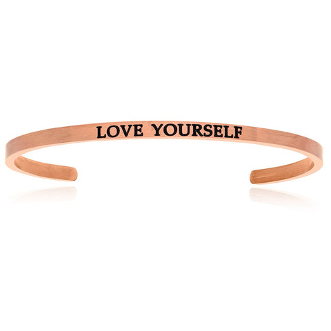 Pink Stainless Steel Love Yourself Cuff Bracelet