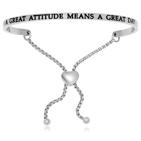 Stainless Steel A Great Attitude Means A Great Day Adjustable Bracelet
