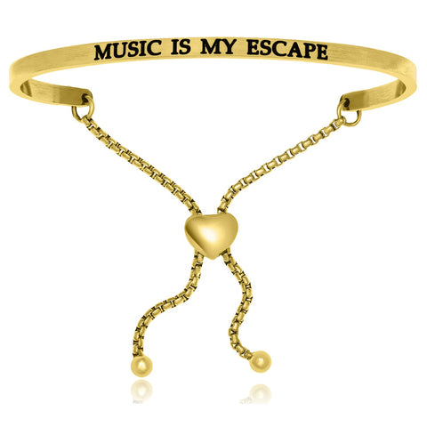 Yellow Stainless Steel Music Is My Escape Adjustable Bracelet